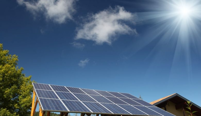 Solar panels renewable energy sun