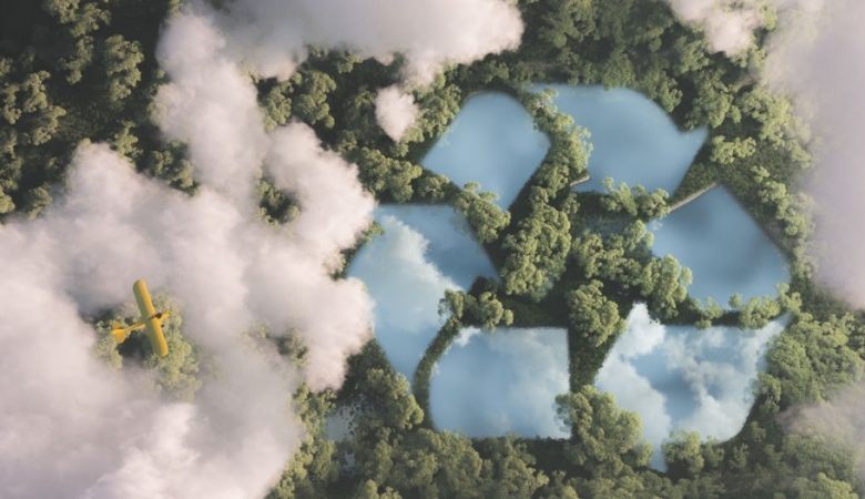 recycle symbol in forest with cloud